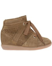 699ae6397c Isabel Marant Bluebel Suede Wedge Sneakers in Natural - Lyst