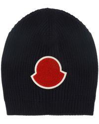 adfe5054335 Lyst - Moncler Knitted Visor Hat in Black for Men