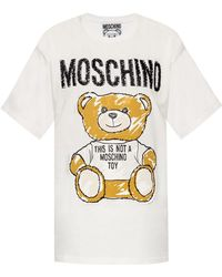 91e34f6b Moschino Floral Bear T-shirt White in White - Lyst