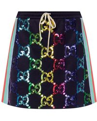 Gucci - Technical Jersey Skirt With GG Sequins - Lyst