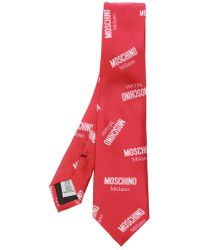 Moschino - Patterned Tie With Logo - Lyst