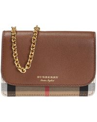 Burberry - 'house Check' Patterned Wallet On Chain - Lyst