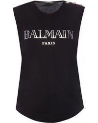 43548339535dc9 Balmain Logo Printed Cotton Jersey Tank Top in Black - Lyst