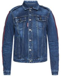 DSquared² - Denim Jacket With Stitched Stripes - Lyst