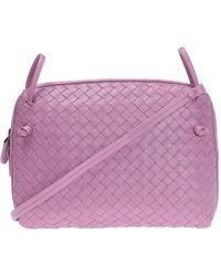 b9e3107d0125 Lyst - Bottega Veneta Intrecciato Shoulder Bag Leather Purple in Purple