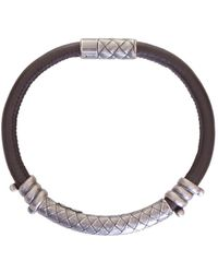 Bottega Veneta - Silver Detail Leather Bracelet - Lyst