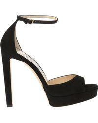 a7be9e29836 Lyst - Jimmy Choo Pattie 130 Platform Sandals In Black Suede in ...