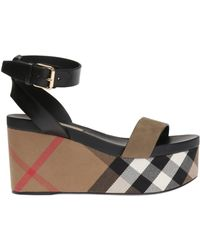 Burberry - 'house Check' Wedge Sandals - Lyst