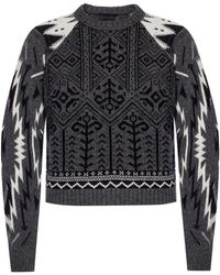 Diesel Black Gold Sweater With Embroidered Pattern