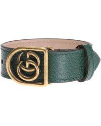 Gucci - Bracelet On Leather Strap - Lyst