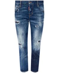 DSquared² - 'cool Girl Cropped Jean' Printed Jeans - Lyst
