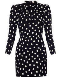 335909ca376 Saint Laurent Tie Neck Polka Dot Silk Mini Dress