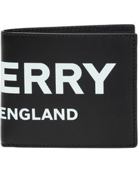 Burberry - Logo Print Leather International Bifold Wallet - Lyst