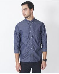 Still By Hand - Cotton Shirt / Navy - Lyst