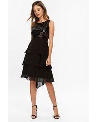 Wallis - Petite Black Sequin Tiered Hem Dress - Lyst