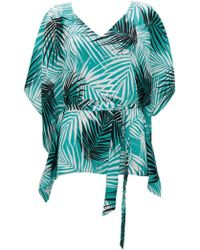 Wallis - Turquoise Palm Print Kaftan - Lyst