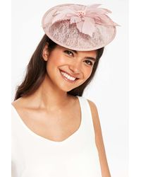 Wallis - Pale Pink Lace And Floral Feather Fascinator - Lyst