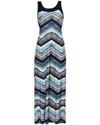 Wallis - Petite Blue Geometric Print Maxi Dress - Lyst