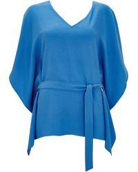 Wallis - Blue Tie Around Kaftan Top - Lyst