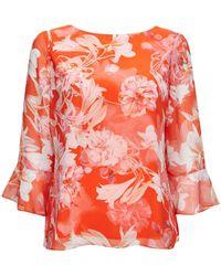 Wallis - Petite Red Crimson Floral Print Blouse - Lyst