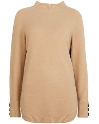 Wallis - Camel Curved Hem Button Cuff Jumper - Lyst