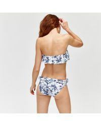 Warehouse - Mono Fern Ruffle Bikini Top - Lyst
