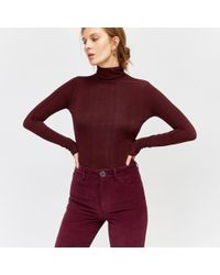 Warehouse - Slinky Roll Neck Top - Lyst