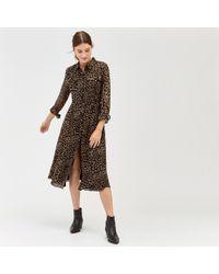 Warehouse - Leopard Print Midi Shirt Dress - Lyst