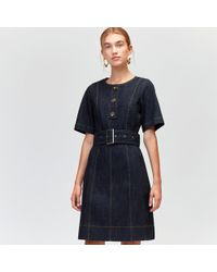 Warehouse - Button Belted Denim Dress - Lyst