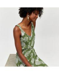 Warehouse - Pineapple Print Midi Dress - Lyst