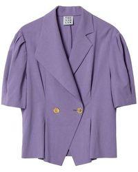 THE ASHLYNN - Jolie Unbalanced Collar Blouse Purple - Lyst