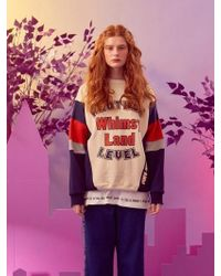 W Concept - [unisex] Whimsy Sweatshirt Cream Navy - Lyst