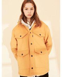 W Concept - Ol124 Urban Vibes Half Coat Mustard - Lyst
