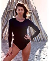 YVONNEB - Long Sleeve Swimsuit Black - Lyst