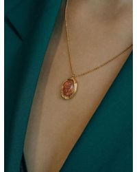 W Concept - Stone Oval Wave Necklace - Lyst