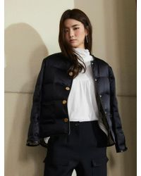 Aheit - Silk Quilted Down Filled Reversible Jacket Black - Lyst