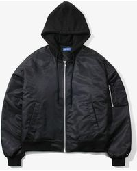 W Concept - Hooded Over Ma-1 Jacket Black - Lyst