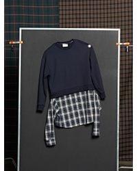 DBSW - Layered Shirt Sweatshirt Navy - Lyst