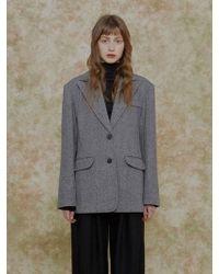 among - A Herringbone Jacket Grey - Lyst