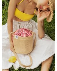 FUNFROMFUN - Check Pointed Basket Bag - Lyst