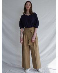 W Concept - V-neck Bloom Knit Dnavy - Lyst