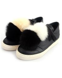 SHOBONYATA - Fox Fur Pompon Sheepskin Sneakers_ws3032d - Lyst