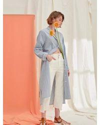 PLOT - Single Button Up Dress Coat Stripe Blue - Lyst