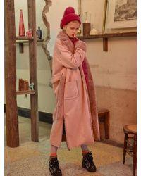 VVV - Pink Faux Shearling Coat - Lyst