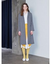 W Concept - Back Opening Long Coat Gray Houndstooth - Lyst