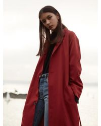W Concept - Wool 4-button Long Coat _ Red - Lyst