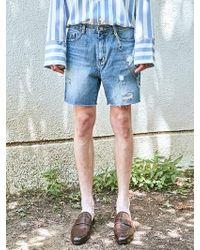 YAN13 - Bluish Damage Denim Shorts_denim - Lyst