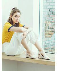 W Concept - Beige X Strap Wedge Heel Comfortable Sandle - Lyst