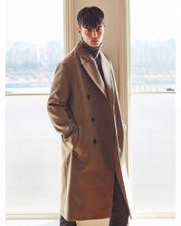 LIUNICK - Bland Wool Overfit Double Coat Beige - Lyst