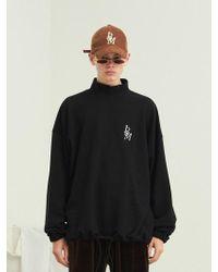 13Month - [unisex] Turtleneck Waist String Sweatshirt Black - Lyst